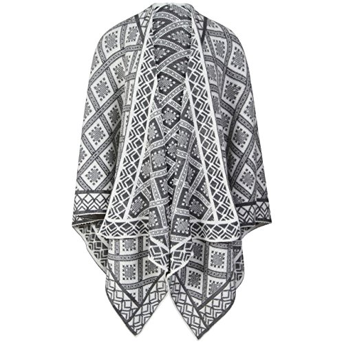 Momo&Ayat Fashions - Poncho -  donna Cream/Grey