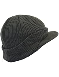Euro Peaked Beanie Knitted Hat with Peak in 6 Colours Winter Beany