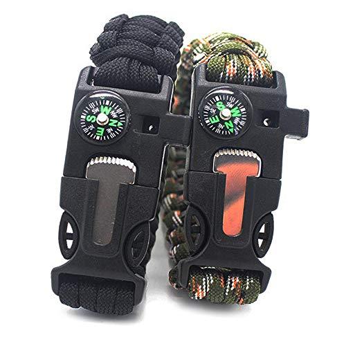 Nellmo Survival-Armband, 550 Paracord-Armband, 5 in 1 Lanyard Fallschirmschnur, Feuerpfeife, Schaber für Outdoor-Aktivitäten, 2 Packungen, 1 Black and 1 Colorful