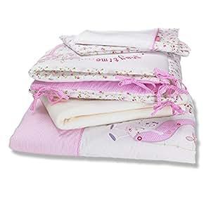 izziwotnot baby fleur berwurf f r kinderbett betten bale 5 st ck rosa baby. Black Bedroom Furniture Sets. Home Design Ideas