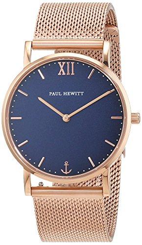 PAUL HEWITT Armbanduhr Damen Sailor Line Blue Lagoon - Damen Uhr (Rosegold), Damenuhr Edelstahlarmband in Rosegold, blaues Ziffernblatt
