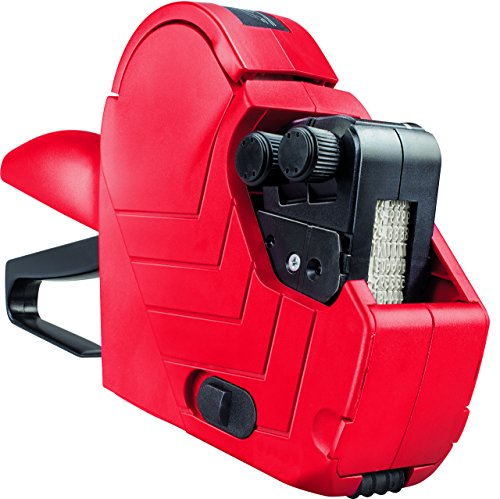 Original Meto Arrow M, Preisauszeichner Set 9505486 (2-zeilig, 16-stellig für 22 x 16 mm Etiketten, sofort einsatzbereit) 1 Handauszeichner, rot-schwarz -