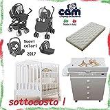 LOTTO TRIO COMI BABY CAM + LETTINO AZZURA WEB + FASCIATOIO CASSETTIERA ASIA CAM + MATERASSO (628 ANTRACITE)