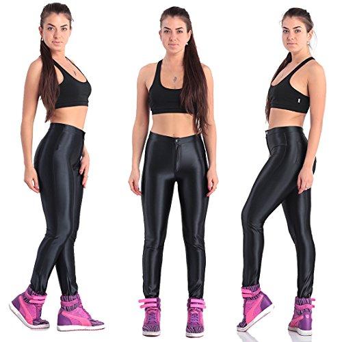 ZQ@QXHohe Taille Hosen neun Farbe fluoreszierend Damen Leggings, M, schwarz