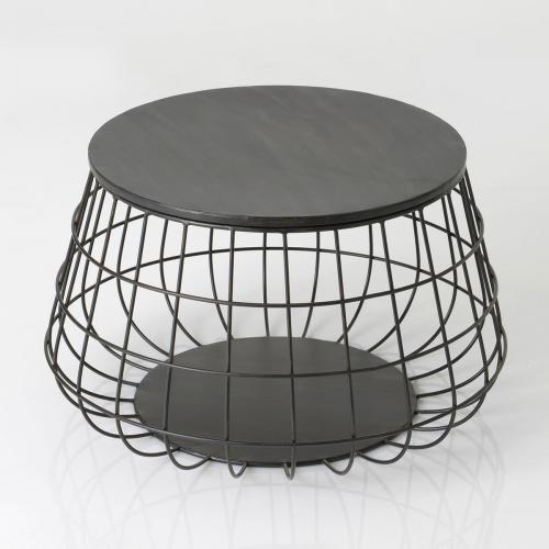 Table basse ronde métal noir grillagée