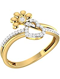 LOLLS Solid 10K Gold 0.15 CT Diamond I1 & HI Beautiful Charms Love Heart Flower Ring [LOLLS_GUR1227_10K]