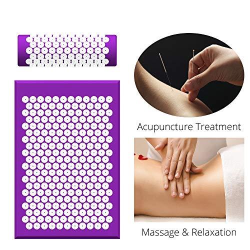 BPHMC (68 * 42 cm) nadeln kopfmassage Matte nackenmassage Kissen rücken fußentspannung massagegerät pad akupunktur Kissen mit Tasche (Color : Purple)