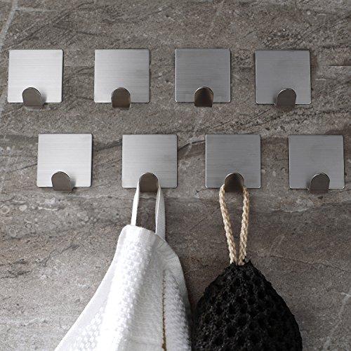 ZUNTO Ganchos Adhesivos 8 Piezas, Toallero Perchero Ganchos de pared para cocina baño Colgadores de Puerta