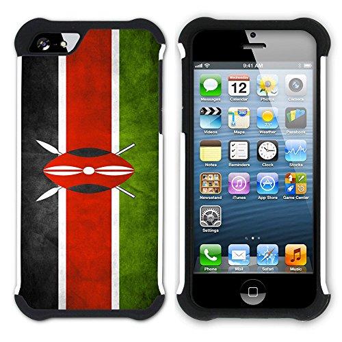 Graphic4You Vintage Uralt Flagge Von Senegal Senegalesisch Design Hart + Weiche Kratzfeste Hülle Case Schale Tasche Schutzhülle für Apple iPhone SE / 5 / 5S Kenia