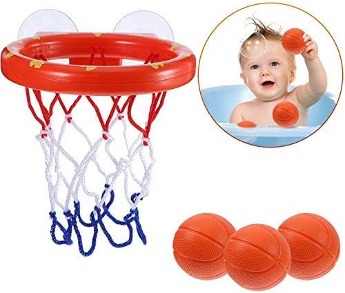 Addmos Jouets Jouets Jouets de Bain, Panier de Jeux de Balle Panier pour la Baignoire avec 3 balles et ventouses pour Tout-Petits | Jolie Et Colorée  0fdfcc