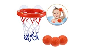 Addmos Bath toys, Ball Games Basket Hoop for the tub with 3 Balls and Suction Cups for Baby Kids Toddlers