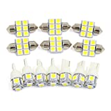 X AUTOHAUX 13x For Toyoyta Highlander 2008-2012 White Car Interior Dome Map Reading Cargo Light Bulbs LED Package Kit