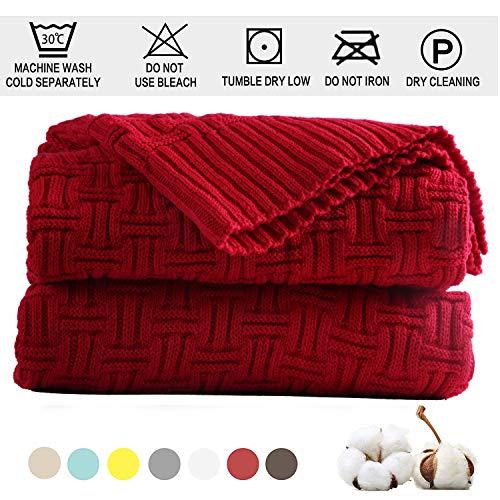 Shaddock Baumwolle Gestrickte Decke 4 Jahreszeiten Bettdecke -130x180cm Ultra Weiche überwurf Decke Wohn-Kuscheldecke für Baby Couch Bett Sofa Stuhl Auto Büro (Rot, Streifenmuster)