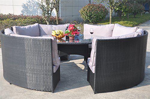 yakoe 10 seater round dining set rattan garden furniture patio conservatory sofa set