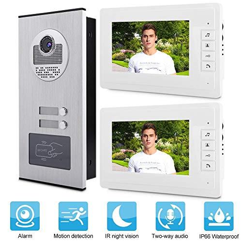 Garsent Video Türsprechanlage Türklingel Intercom System, 7 Zoll LCD Video Türklingel, Nachtsicht Kamera Doorbell Türöffner Kit für 1/2 Familienhaus(100-240V EU)