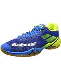 ASHION Damen Hallensportschuhe/Badminton-Schuhe Herren Squashschuhe Herren Badminton Schuhe Kinder Leicht Sportschuhe Turnschuhe (44 EU, Blau)