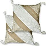 Premium Hand-stitched Tasseled Cushion Covers with Thread work Designs and Polyfill Inner lining (16