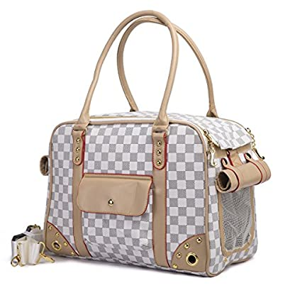 YiHao Lightweight PU Leather Pet Carrier Handbags Tote Bags for Dogs Cats Airline Approve Breathable Mesh Fashion… 1