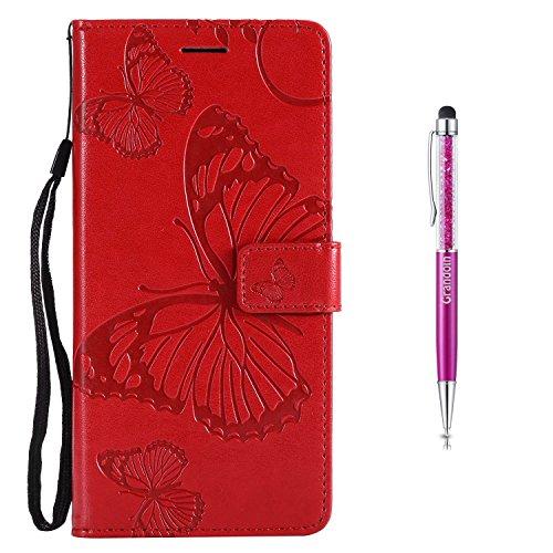 Grandoin Nokia 3 Hülle, Handyhülle im Brieftasche-Stil für Nokia 3 Handytasche PU Leder Flip Cover Schmetterling Muster Design Premium Book Case Schutzhülle Etui Case (rot)