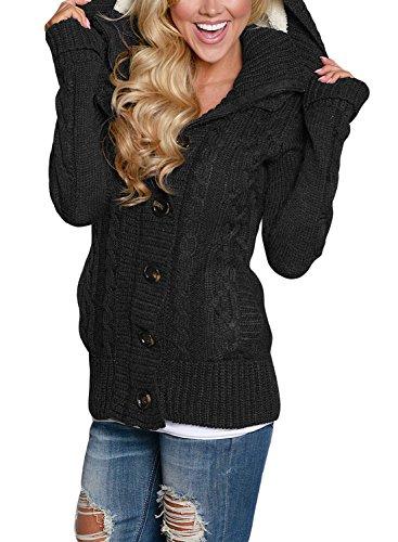 GOSOPIN Damen Hoodies Open mit knöpfen Cardigan Top Loose Strickmantel Schwarz XL