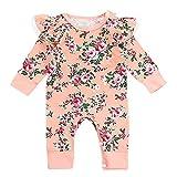 QinMM Kleinkind Baby Neugeborenen Mädchen Blumendruck Spielanzug Jumpsuit Bodysuit Kleidung utumn Kleidung Set Rosa 6 Monate-24 Monate