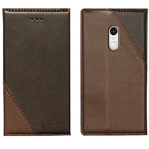 Bracevor Xiaomi Redmi Note 4 Flip Cover Case : Inner TPU, Premium Leather Wallet Stand - Executive Brown