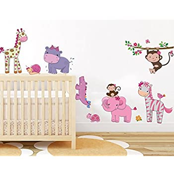 Elegant Pink Girly Animals Wall Sticker Baby Girl Room Jungle Wall Art Decor  Removable Nursery Wall Decal Part 24