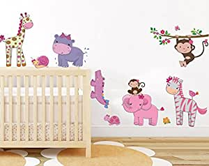 Pink Girly Animals Wall Sticker Baby Girl Room Jungle Wall Art Decor  Removable Nursery Wall Decal
