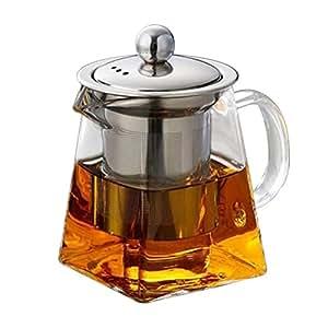 BESTONZON Teiera in vetro da 350 ml con infusore in acciaio inox rimovibile e tostatrice per tè sfusi