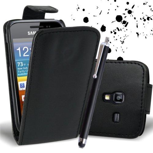 Mod - Custodia con chiusura a linguetta per Samsung Galaxy Ace Plus GT-S7500, in ecopelle, incl. 2 pellicole salvaschermo e 1 pennino capacitivo, colore nero