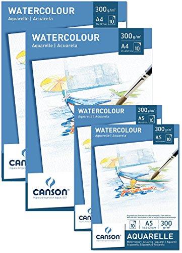Sparpack Canson 2x Block A4 + 2x Block A5 Aquarellpapier 300 g/m² je 10 Blatt weiß – Papier mit hoher Qualität für Aquarell Kunst säurefrei + GRATIS Mischpalette