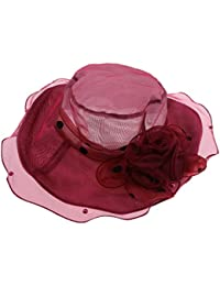 D DOLITY Sombrero de Sol Pamela de Organza Adorno de Flor Ala Ancha Gorro  de Cóctel Boda Estilo Vintaje Color… 9d055e4f729