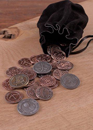 Lederbeutel, groß, schwarz – Geldbeutel – Wikinger – Mittelalter – LARP - 3