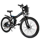 Ancheer Vélo Electrique 26' e-Bike VTT Pliant 36V 250W Batterie au Lithium de Grande Capacité et le Chargeur Premium Suspendu et Shimano Engrenage (noir1)