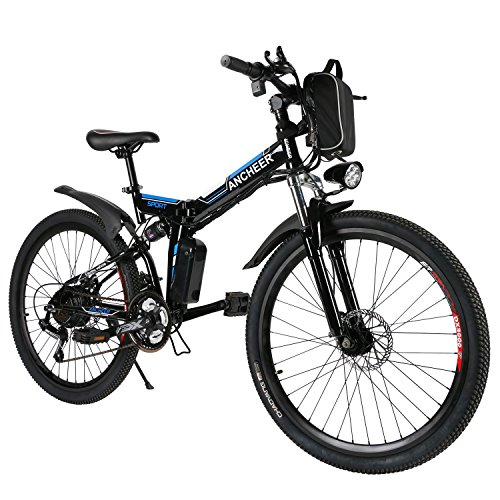 ANCHEER Electric Mountain Bike, 26 Inch Folding E-bike with Super Lightweight Magnesium Alloy 6 Spokes Integrated Wheel, Large Capacity Lithium-Ion Battery, Premium Full Suspension and Shimano Gear