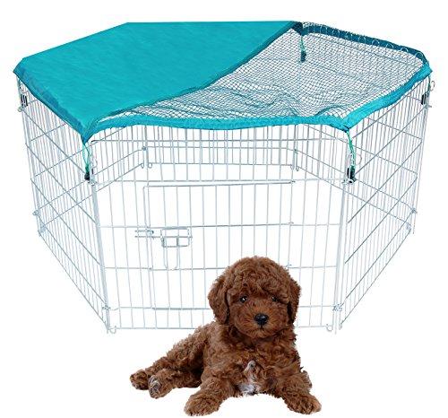 EUGAD HTZ2029m6+HT2029 Welpenauslauf Welpen Freigehege Laufgitter Welpenzaun Laufstall Hunde Tier 60x63cm, aus 6 Elementen,mit 6-teiliges Freilaufgehege Laufstall Hunde, mit Netz, Verzinkte Ausführung