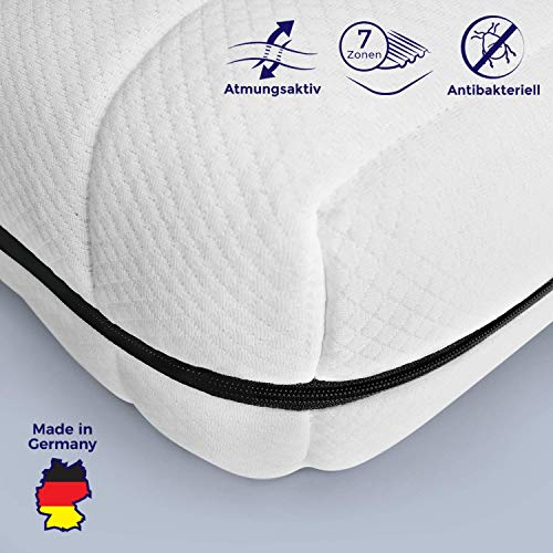 Mister Sandman atmungsaktive Kaltschaummatratze - 7-Zonen Matratze H2&H3, Premium Doppeltuchbezug, Gesamthöhe 15 cm (90 x 190 cm, H2&H3)