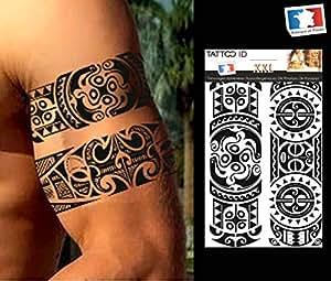 tatouage ephemere temporaire homme polynesien tribal maori. Black Bedroom Furniture Sets. Home Design Ideas