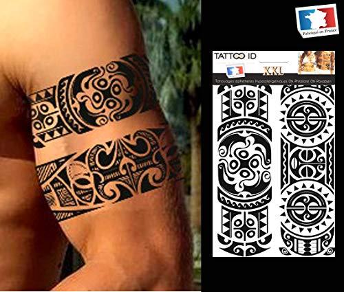 Tattoo id xxl polinesia tribal maori tatuaggio temporaneo ipoallergenico prodotto in francia 1foglio 22cm x 14,5cm da uomo