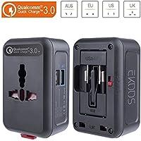 Adattatore Universale da Viaggio, EKOOS Caricatore Adattatore USB Travel Adapter con 2 Porte USB, Caricatore da Parete Internazionale 3 Pin 4 in 1 Per 150 Paesi in Tutto il Mondo