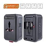 Reiseadapter QC3.0, EKOOS Universal Reisestecker Adapter mit 2-Port USB Ladegerät, Internationales Wandladegerät 3 Polig 4 in 1 für 150 Länder Weltweit Universal (Schwarz)