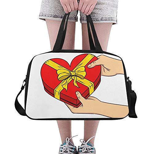 Yushg Herzform Box Geschenke Liebe Jubiläum benutzerdefinierte große Yoga Gym Totes Fitness Handtaschen Reise Seesäcke mit Schultergurt Schuhbeutel für die Übung Sport Gepäck für Mädchen Mens Womens
