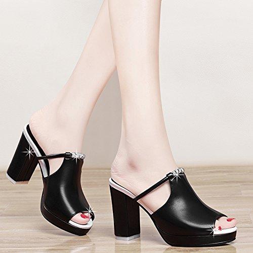 KPHY-L'Estate 8Cm Tacchi A Spillo Con Le Pantofole String Perle E Sandali Impermeabilizzare Le Pantofole black