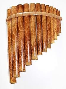 Panflöte aus Bambus Flöte Blasinstrument Handarbeit Peru Nai 23x22cm