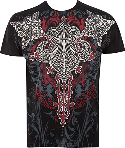 Sakkas Saints Ruhm metallisch geprägten Herren Mode T-Shirt Schwarz