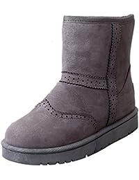 Minetom Mujer Invierno Algodón Botas Calentar Botas De Nieve Antideslizante Zapatos Plano Botines Botas Brogue