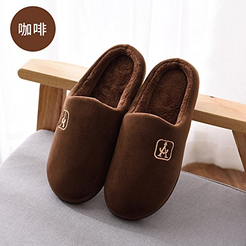 DogHaccd pantofole,Autunno Inverno uomo confezione con cotone pantofole home soggiorno caldo con spesse non-slip indoor e outdoor grandi numeri di scarpe da donna Il caffè4