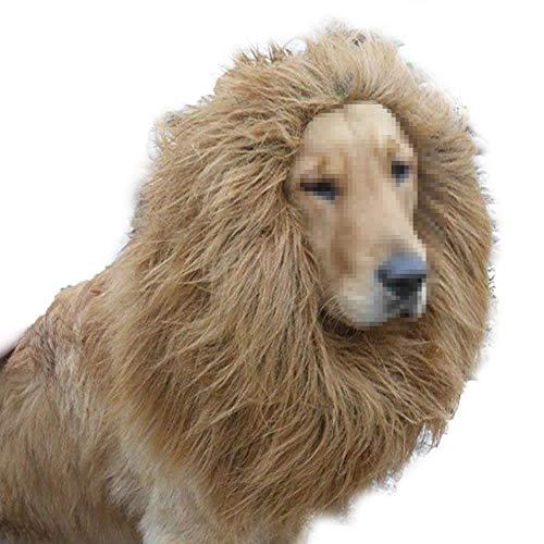 Newin Star 1 Stück Löwenmähne Perücke Phantasie Kostüm für große Hunde & Katzen für Halloween & Cosplay Parteien (Hellbraun)