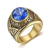 BOBIJOO Jewelry - Anillo Anillo Anillo De Hombre del Ejército De Marina De Los Estados Unidos De Acero De Oro Negro Zafiro Azul Plateado - 31 (14 US), Dorado - Acero Inoxidable 316