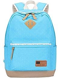 3223dc0a63126 Panegy Mode Schulrucksack Mädchen Canvas Polka Dot Schultasche Leinwand Laptop  Reisen einfach Punkt Druck Rucksack für Freizeit…